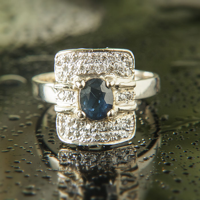 14K Engagement / Entourage Sapphire Ring 1,4 Ct Diamonds 0,44 Ct RS 52 : US: 6 :16,5 mm∅