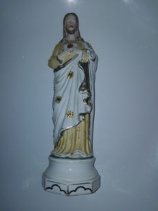 Antique Sacred Heart statue of bisque porcelain