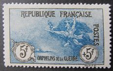 France 1917/1918 - 1st series of Orphans, 5 f. + 5 f. Black and blue - Yvert no. 155