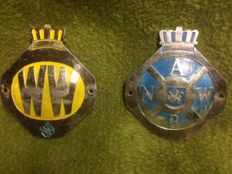 2 original ANWB and Wegenwacht shields, in addition a Wegenwacht pin