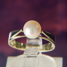 14K Solitaire Lady's Ring Creme Rose / White Pearl 6,5 mm RS: 50 US: 5-5,5 : 15,9 mm∅