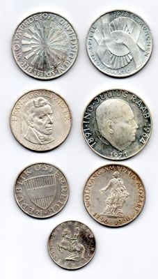 Germany-Austria -- Lot of 7 coins -- silver