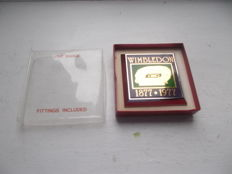 vintage WIMBLEDON  TENNIS  TOURNAMENT chrome / plastic car grille car badge with fixings boxed unused  1877- 1977
