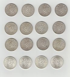 The Netherlands - 2½ guilder 1959/ 1966 Juliana - 16 pieces in total – silver