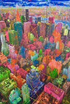 Joaquim Falcó - Big Manhattan 2-Tryptich-Phosphorescent-Dripping