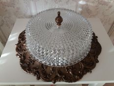 Large old ceiling lamp with brass fantasy edge and beautiful (glass) crystal shade