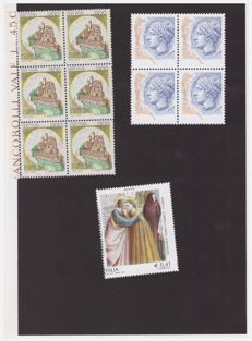 Republic of Italy, 1980/2003 – Lot of three varieties in blocks – Sass. No.  2364Sa 2417Ea