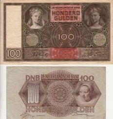 Netherlands - 100 Guilders 1942 Lute-playing Woman REPLACEMENT and 100 Guilders 1947 Girl's Head