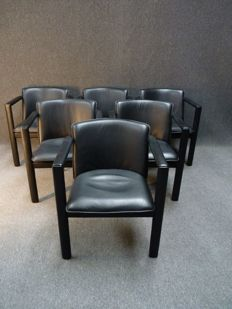 "Hugo de Ruiter for Leolux - six leather chairs, model ""Cachucha"""