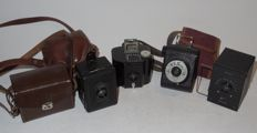 4 x Baby box cameras - 127 roll film - 1930s