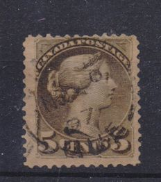 Canada Queen Victoria 1870 - variety with print on both sides