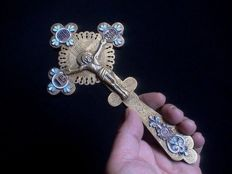 Very rare antique gilded silver Russian Orthodox Church Priest Blessing Cross with enamel details and engravings - 1890