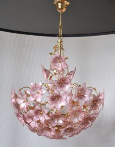 Large, vintage, polished brass chandelier with Italian Murano glass pink flowers (30+)