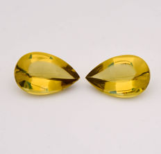 Pair lemon quartz / Greengold - Yellowish green - 22.64 ct total