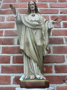 "Large saint statue ""Sacred Heart"" - plaster - Flanders (BE) - early 20th century"