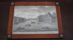 Imperial Russia, St. Petersburg, Fontanka river and Court warehouses, 18th century hand colored engraving on frame