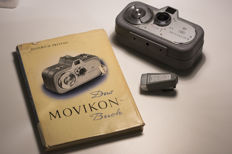 Zeiss Ikon Movikon 8 mm camera, Movikon book, Anamorphot 22/1.5x viewfinder (rare!)