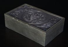 Exclusive silver and bronze ink box - China - 19th century