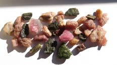Natural Untreated Multicolour lot tourmaline crystals - 166.45 ct (total)