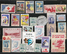 France 1947/1951 - Assorted vignettes, Red Cross, Chamber of Commerce, military medals and imperial stamp
