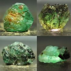 Nice collection of unheated/untreated emerald crystals - 43,4 ct (4)