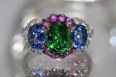 18 kt gold ring set with natural tsavorite garnet, sapphires and diamonds size 52