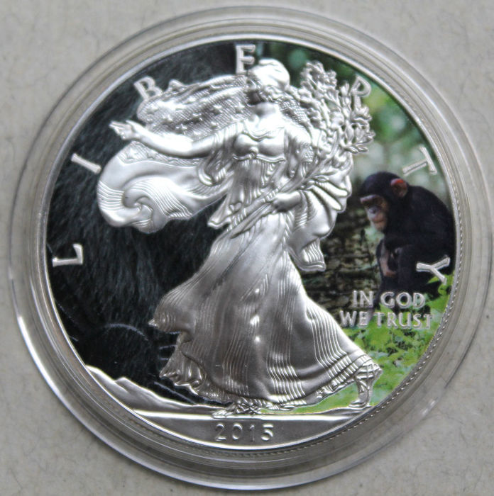 Stati Uniti - 1 Dollar 2015 Silver Eagle 'Animals Chimpanzee' colorized - 1 oz - Argento