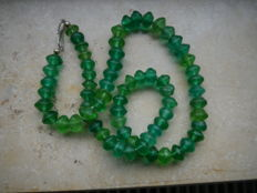 African green necklace made of glass beads / Venetian