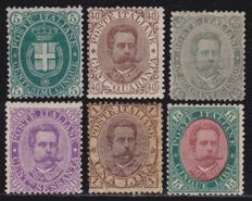 Kingdom of Italy 1889 - complete series, Sass.  No. 44/49
