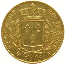 France –20 francs 1815A, Louis XVIII – gold.