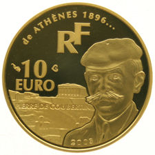 "France - 10 Euros 2003 ""Pierre de Coubertin Athens"" in capsule - gold"