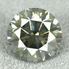 Diamond – 0.83 ct, Natural Fancy Dark Yellowish Green Si1