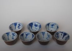 7 field pea bowls - China - 19th century
