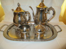 Beautiful five pieced silver plated Coffee / Tea set.