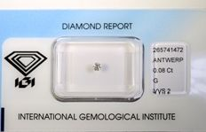 Diamond, 0.08 ct, Brilliant, G/VVS2, IGI, NO RESERVE