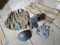 The GDR people's Army Camouflage uniform, helmet, and bread bag