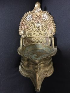 Deepalakshmi (oil lamp) depicting Gajalakshmi - India - Late 19th century