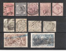 Great Britain 1880/1912- Lot with 11 classic stamps- Yvert 70, 71, 74, 75, 80/84, 153, 155