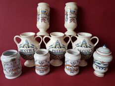Collection of 9 beautiful original Pharmacists Pots