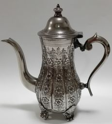 Vintage Antique silver plate tea pot with floral engravings - Moroccan/ Arabic