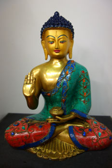 Very large Bronze Buddha - Nepal - Early 21st century