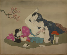 Large shunga hand-painted painting on silk - Japan - approx. 1900
