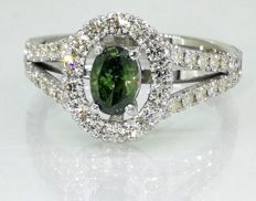 18 kt whit gold ring with 0.65 ct fancy intense olive yellow green diamond &  0.50ct diamonds - size 55