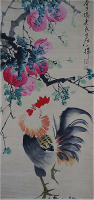 Hand-painted scroll painting of cock《齐白石-公鸡》- China - late 20th century