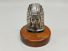 Original Chrome Car Mascot Hood Ornament Emblem Native American / Red Indian mounted on a wooden circular base
