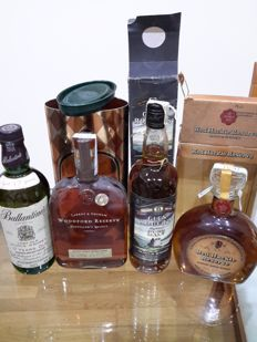 4 bottles - Ballantines 17 years + red hackle 12 years + glen roger's 8 years + woodford reserve