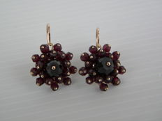 Antique style earrings with garnets - first half of the 20th Century