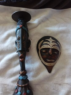 2 pieces, African mask and head
