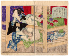 Original diptych of shunga woodblock prints by an unknown artist - Two lovers on a balcony - Japan - ca. 1860
