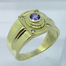 14kt Solid Gold Tanzanite Mens ring - size 9